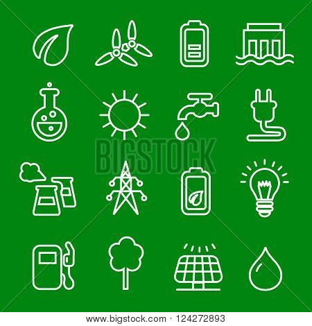 Flat thin line icons vector set of power and energy symbol, natural renewable energy technologies as solar, wind,  water.