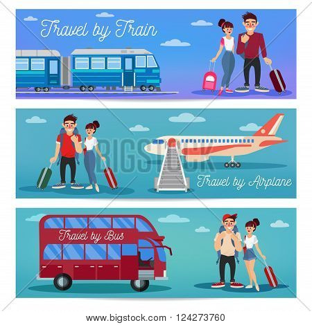Bus Travel. Train Travel. Airplane Travel. Travel Banner. Tourism Industry. Active People. Girl with Baggage. Bus Tour. Man with Baggage. Happy Couple. Vector illustration. Flat Style
