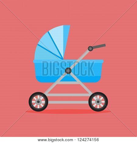 Baby perambulator vector icon on red background
