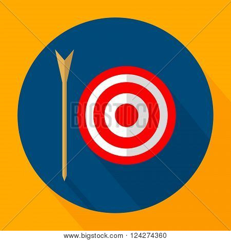 Archery icon flat design. Flat Style Icon with Long Shadow.