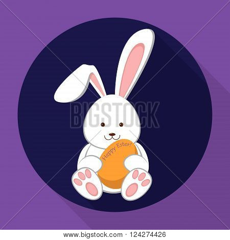 Vector Icon Easter Bunny. Easter rabbit holding an egg. Flat illustration. Vector illustration.