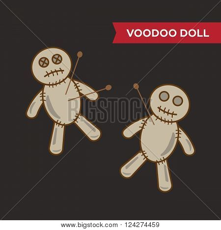 Voodoo doll vector set. 10 eps vector illustration