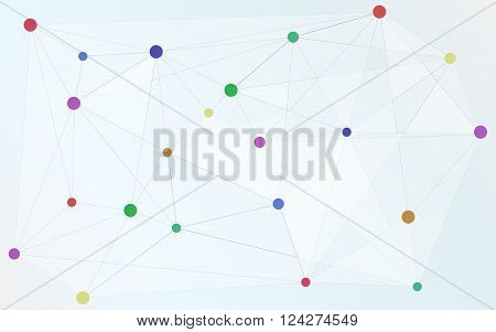 Various colored dots connected with triangle shape connection worldwide connections. Abstract background. Abstract wallpaper. Various shapes and sizes connected together. Abstract backround connections connectivity isolated on white background.