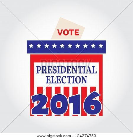 Vote Box For Presidential Election. Vector Illustration.