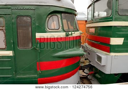 The trains are in the depot of St. Petersburg.