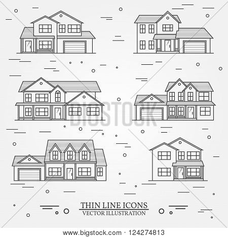 Set Of Vector Thin Line Icon  Suburban American Houses. For Web Design And Application Interface, Al