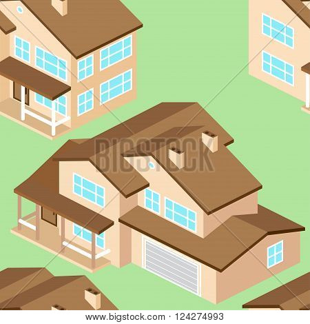Seamless Pattern With Isometric Suburban American House.vector Dark Grey.