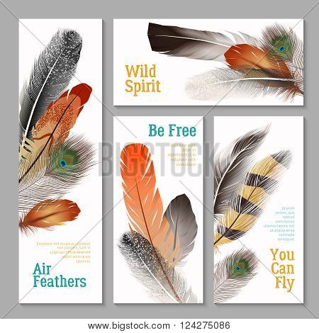 Feathers realistic banners set with wild spirit symbols realistic isolated vector illustration