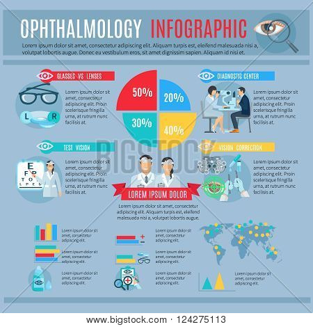Ophthalmology center tests and vision correction options infographic with treatments and optics choice statistic diagrams abstract vector illustration