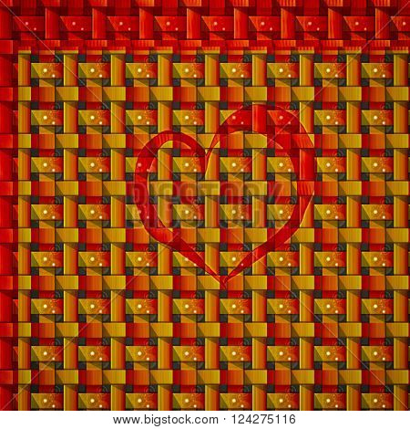 The heart of love shines red brick texture
