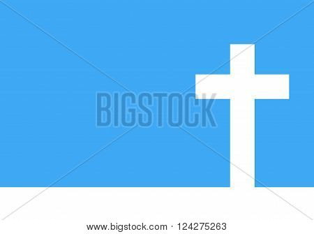 White cross icon - vector illustration. Simple Christian cross sign. White cross on blue background.