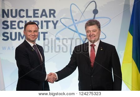 WASHINGTON D.C. USA - Apr 01 2016: President of Ukraine Petro Poroshenko and President of Poland Andrzej Duda at the Nuclear Security Summit in Washington