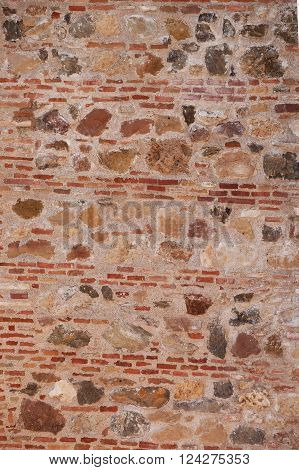 red brick and stone wall surface texture background