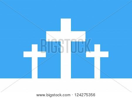 White cross icon - vector illustration. Simple Christian cross sign. Three white crosses on blue background.