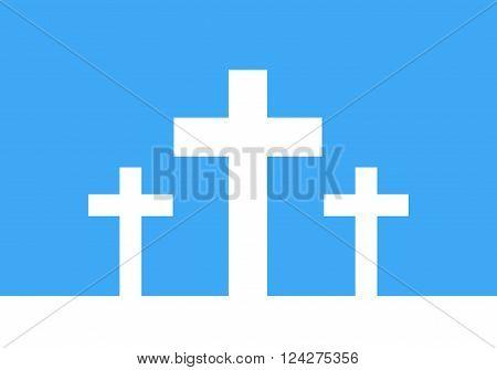 White cross icon - vector illustration. Simple Christian cross sign. Three white crosses on blue background.