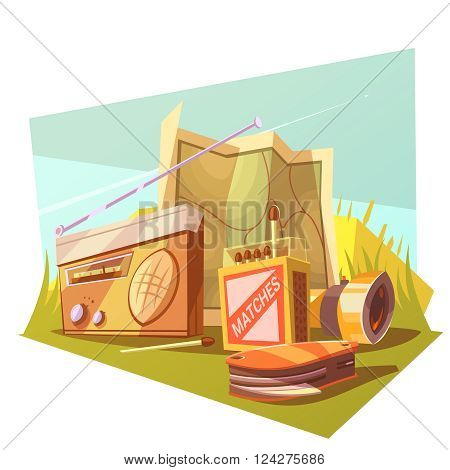 Hiking cartoon concept set with map matches radio and knife vector illustration
