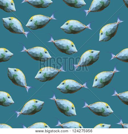 Seamless pattern with polygonal unicornfishes. Triangle low polygon style. Endless backdrop with colorful white and yellow orange spine unicorn fishes on deep blue sea background
