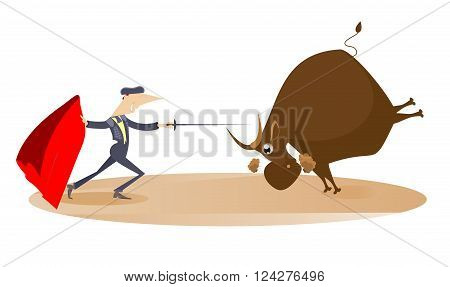 Bullfight. Bullfighter aims to the bull by sword