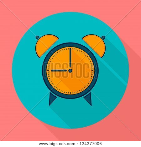 Alarm clock icon flat design. Clock silhouette. Vector icons in flat design on the theme sport.  Vector fitness icon. Flat Style Icon with Long Shadow. Web site page and mobile app design element.