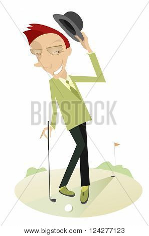 Gentleman on the golf course. Man with golf club smiles and takes off his hat