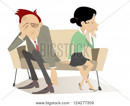 Disappointment. Man and woman in low spirits sit on the contrary edges of the sofa