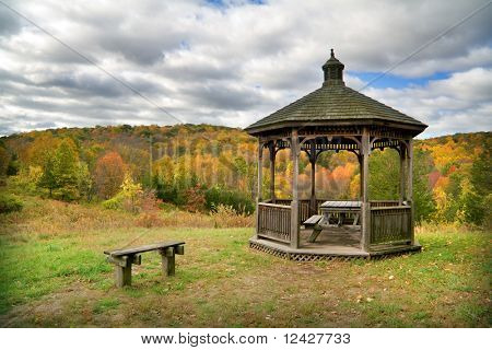 View of gazebo with picnic table with fall foliage.