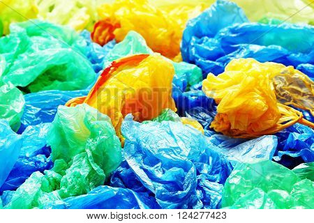 A lot of colorful disposable rubbish bags