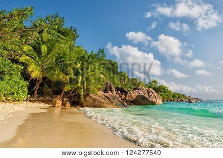 tropical anse lazio beach praslin island seychelles