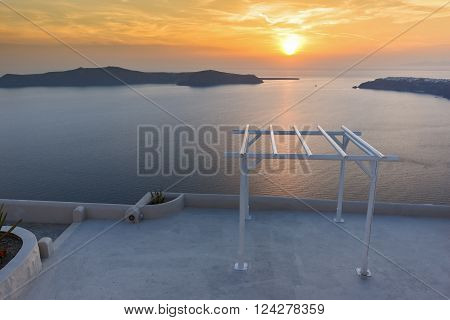 Amazing Sunset landscape in town of imerovigli, Santorini island, Thira, Cyclades, Greece ** Note: Visible grain at 100%, best at smaller sizes