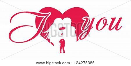 Kiss of man and woman on a background of red hearts