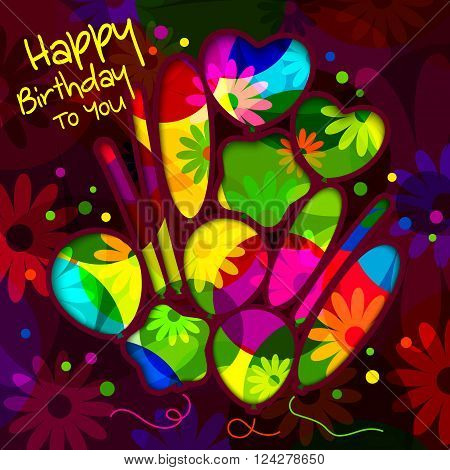 Birthday card in the style of cutouts with balloons on colorful flowers background.