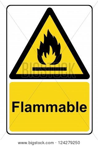 A view of a Flammable substances yellow warning sign
