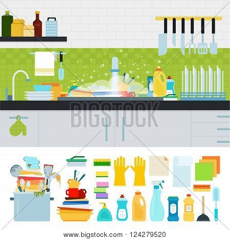 Unwashed dishes vector flat illustrations. Dirty sink with kitchenware, utensils, dishes, dish detergent. Differrent cooking utensils isolated on white background