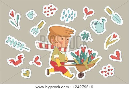 Love Gardening stickers, cartoon vector illustration - a gardener wearing gloves, yellow rubber boots wheeling a bunch of flowers in a barrow, surrounded by garden elements in heart shape, Dodo People