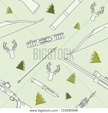 Pattern with deer heads, hunting equipment and weapons isolated on background.