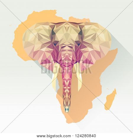 Vector image of an elephant in a flat design with long shadow. Elephant picture illustration in polygonal style. Elephant low poly design. Logo animal living in Africa, national park and zoo.