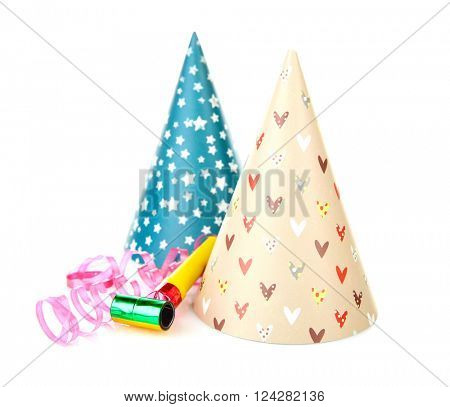 Funny party hats, isolated on white