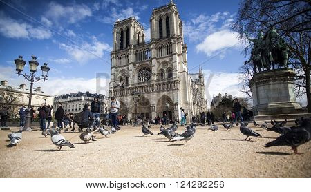PARIS, FRANCE - MARCH 25, 2016: Notre Dame Cathedral in Paris