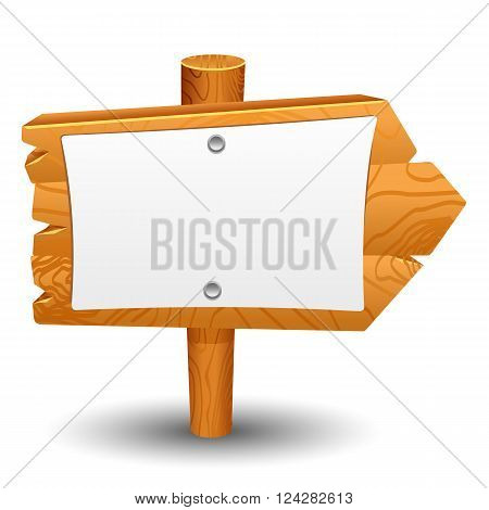 Wooden sign post icon symbol label set