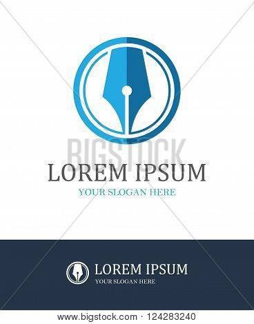 Modern fountain pen round icon for law firm or company lawyer office writer literary or educational concept logo design