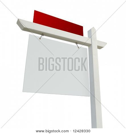 Blank White and Red Real Estate Sign Isolated on a White Background.