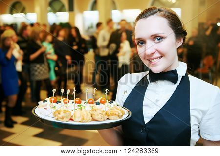 Catering service. waitress on duty