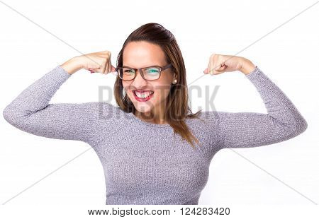 Winner Success Woman Flexing Biceps