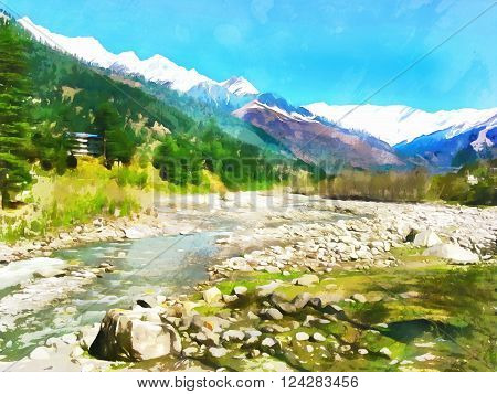 Watercolor. Himalayan Kullu Valley. Hot source area near the town of Manali. India State of Himachal Pradesh. Travel tourism.