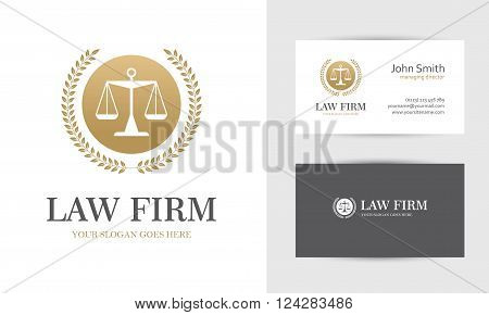 Law logo with scales and wreath in golden colors. Business card design templates for law firm company lawyer or attorney office