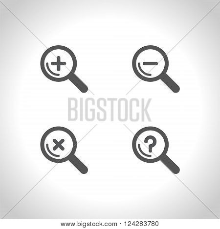 Set of Magnifier glass sign icon. Zoom tool button. Navigation search symbol. Vector