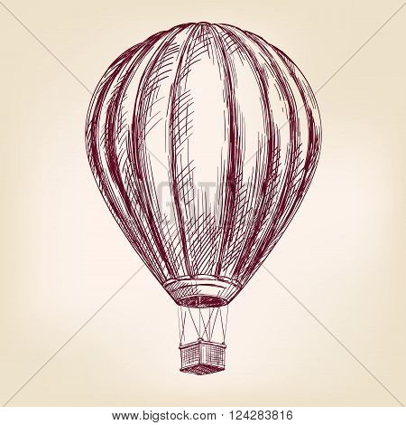 Hot air balloon, airship or transport  hand drawn vector illustration realistic sketch