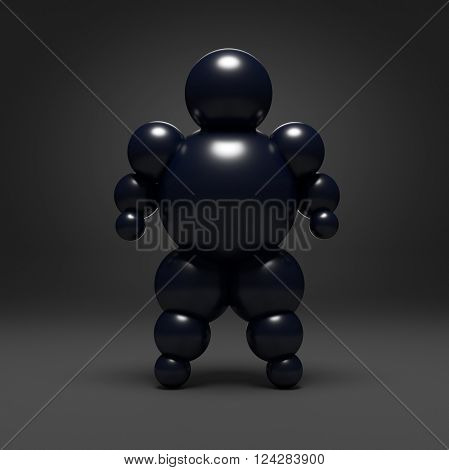 3D abstract Ballman character on a black background