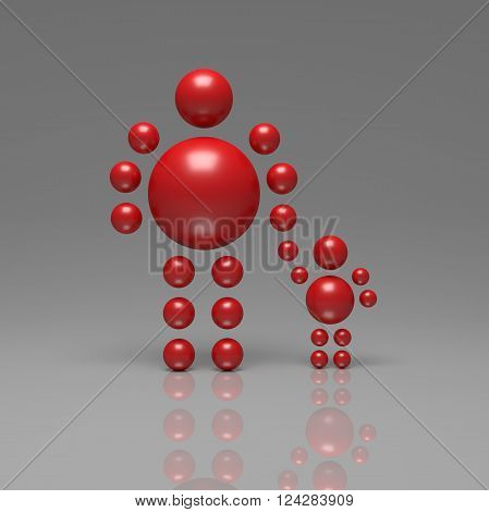 3D abstract Ballman characters on a grey background