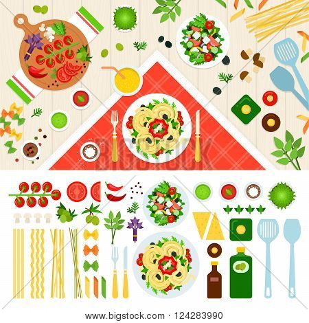 Pasta vector flat illustrations. Pasta served on the table. Italian cuisine concept. Pasta ingredients, Noodles, tomatoes, spices isolated on white background